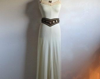 Vintage Cream 1970s Dress Shimmer Column Summer Maxi Casual 70s Nylon Knit Jersey Dress XSmall
