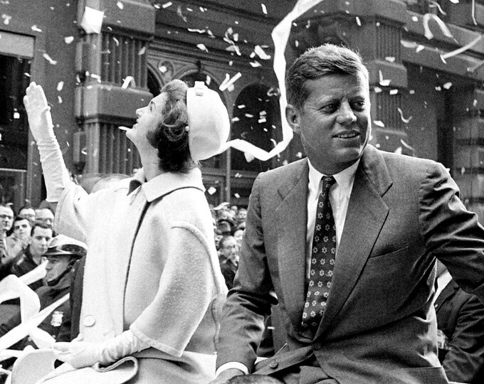Senator John F. Kennedy and Wife Jacqueline Ride in a New York City Ticker-Tape Parade in October, 1960 - 5X7 or 8X10 Photo (AA-998)
