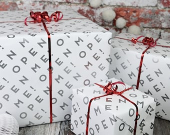 Open Me Wrapping Paper - Christmas Wrapping Paper - Christmas Wrap - Christmas Wrapping - Gift Wrapping - Gift Wrap - Wrapping Paper