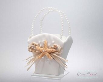 Starfish & Raffia Flower Girl Basket, Ring Bearer Pillow, Set White Ivory Nautical, shells Rhinestones Pearls Natural Orange Sugar Starfish