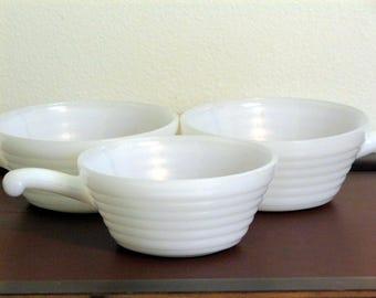 Set of 3 Vintage Fire King Milk Glass Soup Bowls with Handles Ramekins