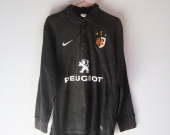 VINTAGE NIKE Stade Toulousain French Rugby Team Black Polo Shirt Sports - Size L
