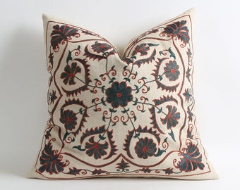 Hand Embroidered Silk Suzani Pillow Cover - Decorative Pillow Cover - Vintage Uzbek Throw Pillow - Cushion Cover - Accent Pillow