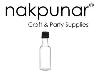 96 pcs 50 ml Round Plastic Liquor Bottles with Black Cap