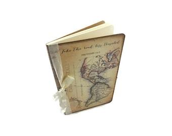 World map journal etsy travel prayer journal proverbs 34 5 world map notebook bible gumiabroncs Images