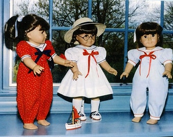 "Doll Pattern / 18"" Doll Pattern / Sailor Dress / Sailor Jumpsuit /  by Carol Clements"