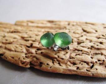 Kelly Green - Sea Glass - Tiny Stud Earrings - Genuine Sea Glass Earrings - Miniature Earrings - Prince Edward Island Canada Sea Glass