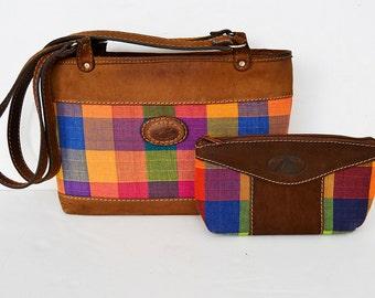 leather bag and vintage multicolor makeup case