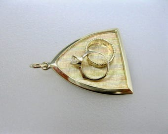 Vintage 14K Tri Color Gold Wedding Ring Charm/Pendant