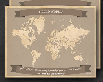 "World Travel Maps - Printable World Travel Map Instant Download - 11""x14"" Wall Art - 2 pack - With Text or Add your own text"