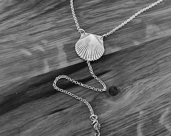 Sea Shell Lariat Necklace, Lariat Necklace, Layering Necklace Ocean Necklace Silver Necklace Surfer Girl Necklace Y Necklace Shell Necklace