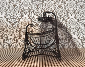 Gothic Victorian Swing Bassinet Miniature Cradle Doll Bed Haunted Halloween Dollhouse Furniture