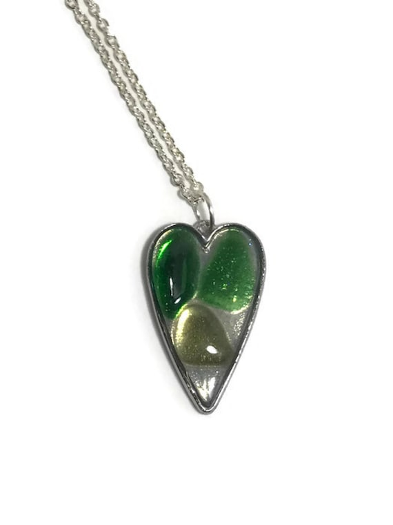 Genuine Sea Glass Heart Pendant-multi shades of green sea glass on resin
