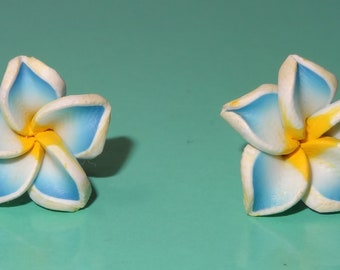 Polymer Clay Stud Earrings Blue with White Plumeria Flower