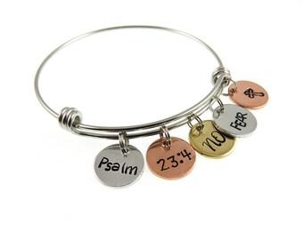 Scripture Jewelry - Christian Hand Stamped Jewelry - Psalm 23 - Bible Verse - Charm Mantra Bangle Bracelet - Expressions Bracelets