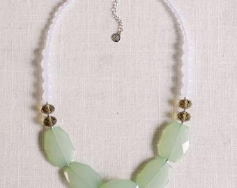 SALE . horizons . ocean mist // mint statement necklace . mint and grey . colorblock necklace . mint jewelry . mint bridal party necklace