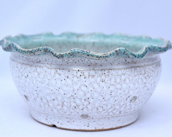 Berry Bowl in Vanilla Bean and Teal - Ceramic Colander - Stoneware Pottery