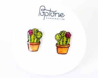 Potted Cactus Stud Earrings, Cactus Earrings, Cactus Studs, Succulent Earrings