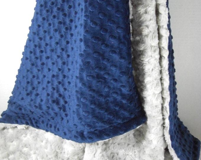 Navy Blue Minky Dot and Silver Gray Rose Swirl Minky Blanket