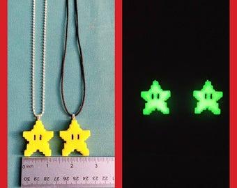 Glow in the dark 8-Bit Mario Star Necklace