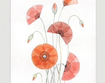 Watercolor painting poppy original art watercolor painting poppies wall decor red flower illustration original art A4 by VApinx