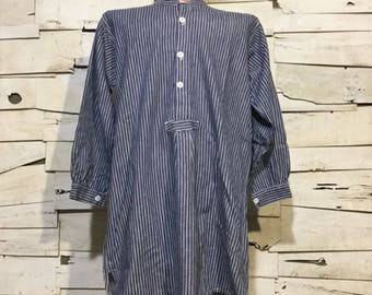 Vintage German Fisherman Striped Shirt/ Harbour Top (os-ht-1)