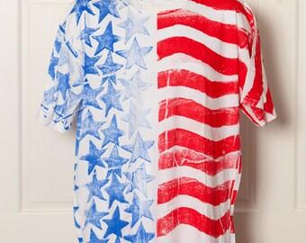 90s American Flag Print Tshirt - LA Chic