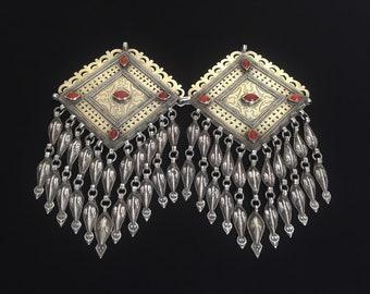 Turkmen-tekke ethnic tribal silver pair of headdress jewelry (donbaghcık)