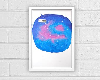 Maker Galaxy Watercolor Print