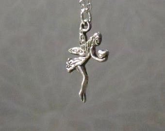 Silver fairy necklace-fairy charm-fairy pendant-Fairy necklace-choose your length-gift for her-fantasy necklace-Thumbelina-Pixie necklace