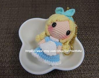 Mini Metal Purse Frame Crochet Amigurumi Doll Disney Alice in Wonderland