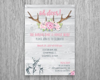 Oh Deer! Baby Shower Invitation with Watercolor Roses and Antlers on Wood