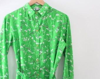 Vintage Dress, Floral Dress, Green Dress, Floral Print Dress, Green Floral Dress, Floral Shirt Dress, Green Shirt Dress, Flower Print Dress