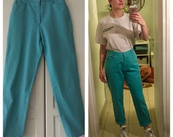 Waist high turquoise vintage 90's denim