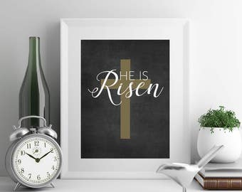 He Is Risen Easter Decorations Christian Easter Christian Wall Art Scripture Print He Has Risen Instant Download Digital Download Printable
