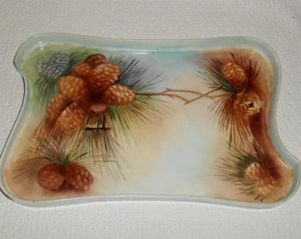 Vintage Hand Painted Porcelain China Dresser Tray Pinecone Pine Cone Design
