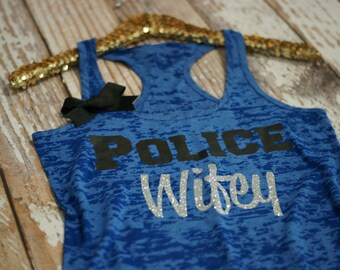 Burnout Tank. Workout Tank. Police Wife. Police bride. police girlfriend. police. tank top. gym shirt. burnout tank top. workout cothing
