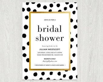 Bridal Shower Invitation | Kate | polka dot pattern Invite | Gold | Black White | Print Your Own | Spade