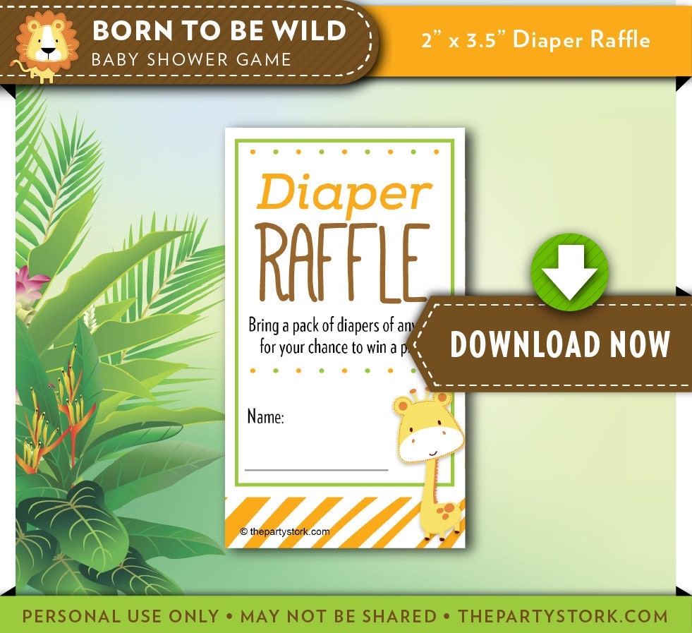 Safari Baby Shower Diaper Raffle Ticket Orange Green