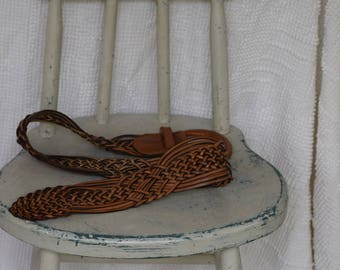 Vintage Wide Brown Leather Woven Belt with Leather Buckle