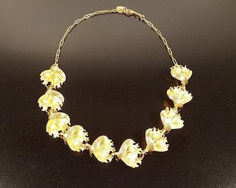 Vintage - Golden Floral Bouquet Choker Necklace