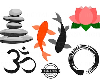 Meditation Clipart Ohm Enso Circle Ink Feng Shui Art Zen Fish Lotus Flower Stone Cairn Stone Pile Commercial Use Okay Simple Minimalist