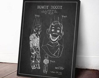 1950 Howdy Doody Patent Canvas Print, Howdy Doody Wall Art, Howdy Doody Print, Howdy Doody Art, Home Decor, Gift Idea, GT23C