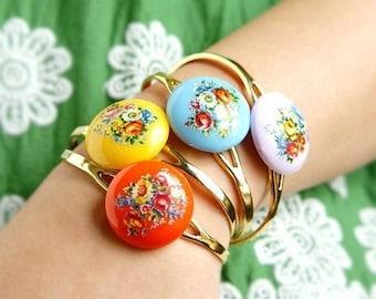 Cameo bangle, Vintage Floral Cameo Cuff, vintage bright tangerine blue pink yellow bangle bracelet