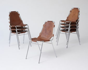 Set of Eight Les Arcs Chairs by Charlotte Perriand, 1970s