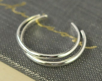 Silver Toe Rings Stacking Set of Two, Simple Everyday Handmade Jewelry, Adjustable, Kristin Noel Designs