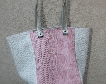 Small square faux leather clutch with pink and white dragon tote bag