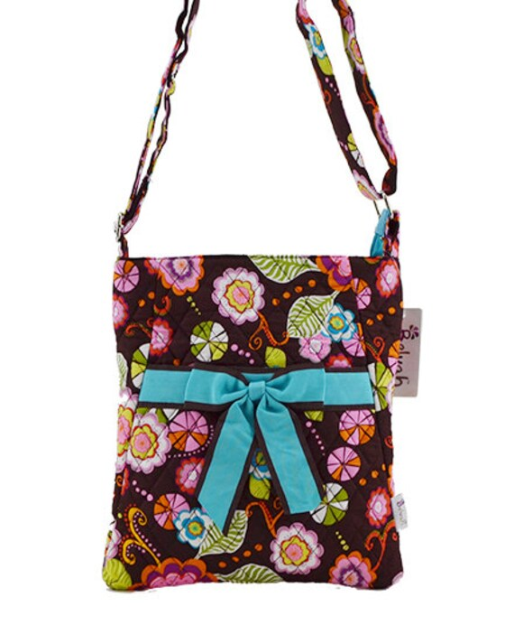 Quilted 5 piece matching turquoise floral large tote, messenger bag + 3 piece cosmetic case set. Customize. Personalize. Monogram. Christmas