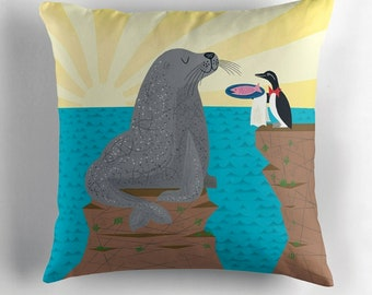 """Sealed With A Fish - Children's Decor - kids Room -  illustrated Cushion / Throw Pillow Cover (16"""" x 16"""") by Oliver Lake"""