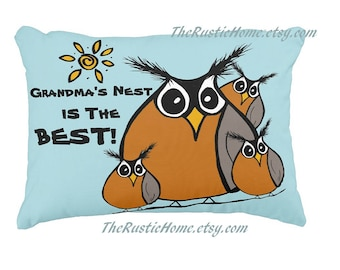 Personalized Robin family pillow Grandma's nest robins grandparents gift toss pillow bird birds pillow choose your text made to order